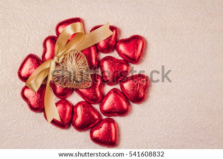 St. Valentines Day Heart And Sweets In A Red Brilliant Wrapper.