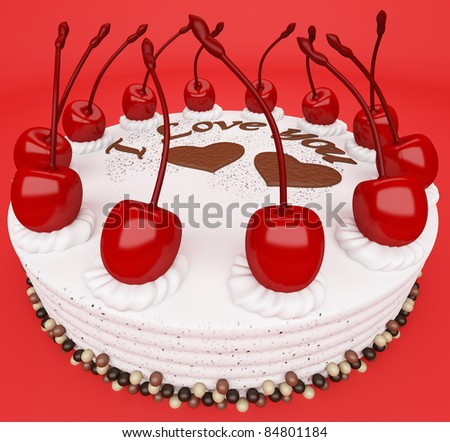 St Valentines day: tasty cake with cherries on red (wide angle)