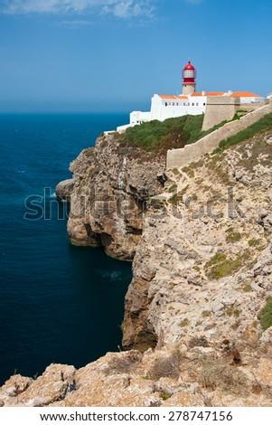 St. Vincent Cape and lighthouse, Algarve, Portugal. - stock photo