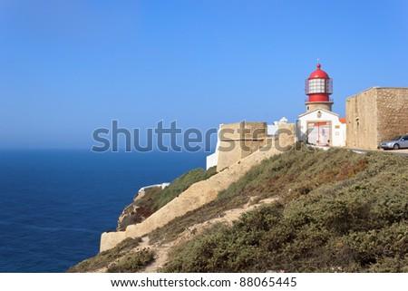 St. Vincent Cape and lighthouse (Algarve - Portugal) - stock photo