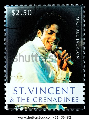ST. VINCENT - CIRCA 2010: A postage stamp printed in Saint Vincent showing Michael Jackson, circa 2010 - stock photo