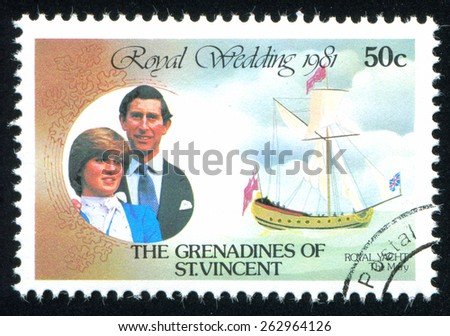ST. VINCENT GRENADINES - CIRCA 1981: stamp printed by St. Vincent Grenadines, shows Diana and Charles, circa 1981. - stock photo