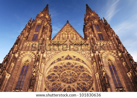 st. Vita`s Cathedral in Prague at the night - stock photo