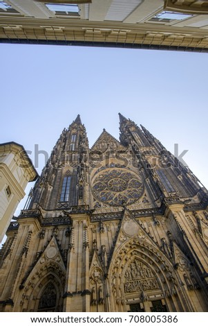 St. Vitus Cathedral in Prague Czech Republic famous historical building