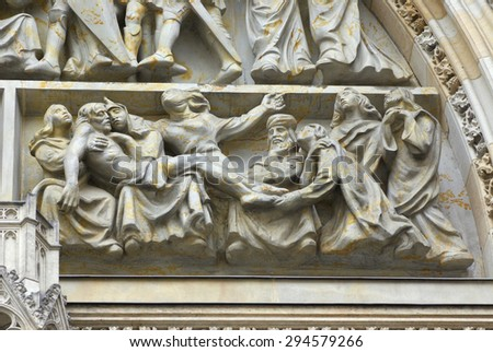 St. Vitus cathedral in Prague, fragment - stock photo