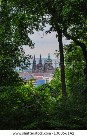 St.Vitus Cathedral seen from a hill