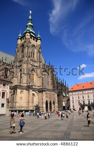 St Vitus's Cathedral at  Prague, Czech republic - stock photo