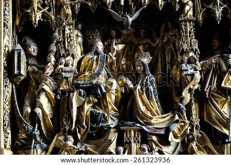 ST. WOLFGANG, AUSTRIA - DECEMBER 14: Coronation of the Virgin Mary, Main altar in Parish church in St. Wolfgang on Wolfgangsee in Austria on December 14, 2014. - stock photo