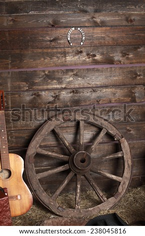stable with a hayloft in the morning dawn - stock photo