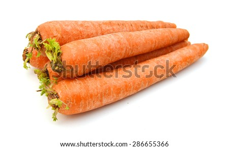 Stack carrots isolated on white background  - stock photo