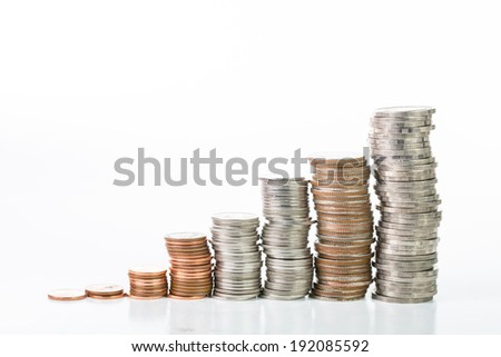 Stack coin up isolated with white background
