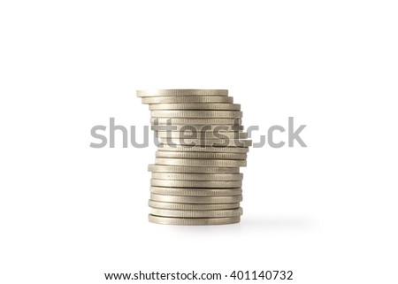Stack coins, isolated on white background, clipping path - stock photo