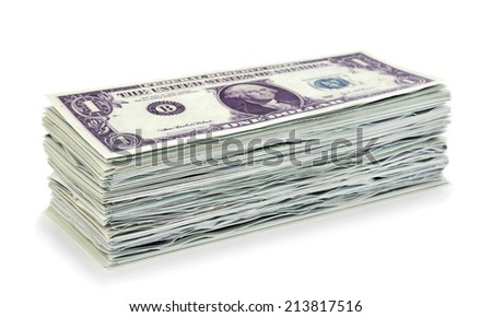 Stack 1 dollar banknotes on white background - stock photo