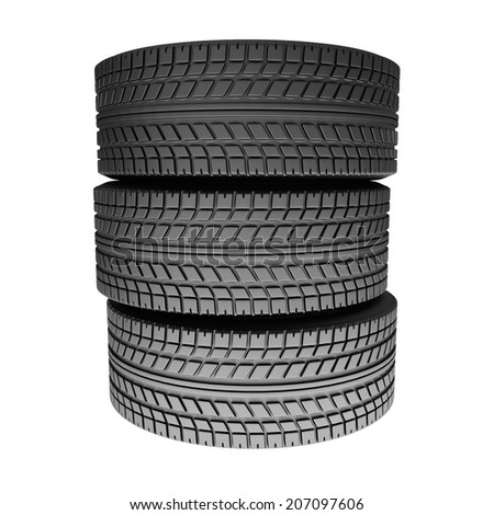 Stack from tires isolated on white background. 3d render illustration