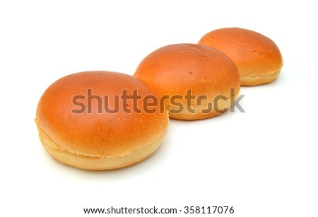 Stack hamburger buns on white background