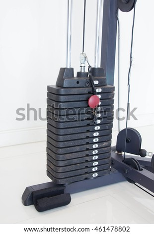 Stack Metal Weights In Gym Equipment As Bodybuilding Concept.
