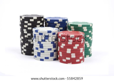 Stack of a poker chips against white background