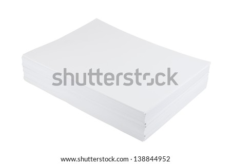 Stack of a4 size white paper sheet isolated over white background
