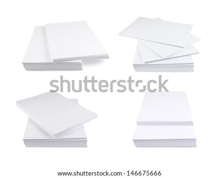 Stack of a4 size white paper sheet isolated over white background, set of four foreshortenings - stock photo