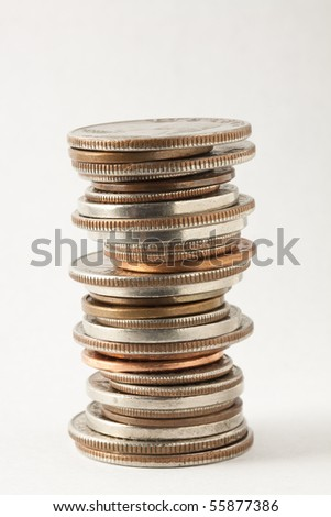 Stack of American Coins - stock photo
