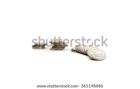 Stack of  american coins. Quarters isolated on white - stock photo