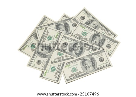 Stack of american dollars isolated on white.
