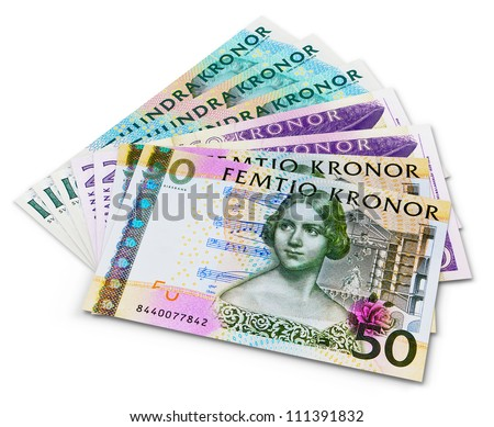 Stack of 100, 50 and 20 swedish krona banknotes isolated on white background - stock photo