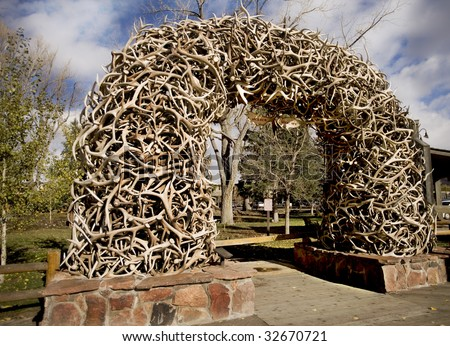Stack of Antlers from the Elk Wildlife Reserve in Wyoming - stock photo
