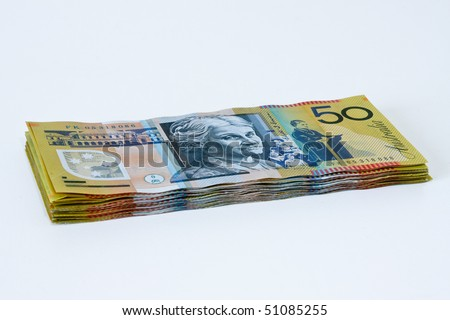 Stack of Australian fifty dollar notes