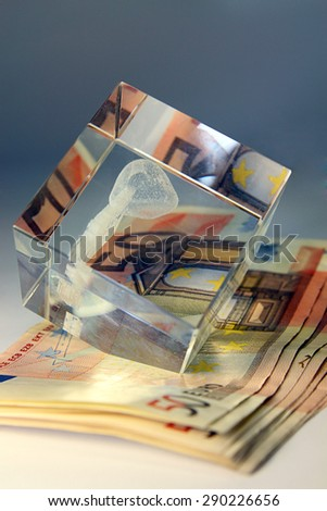 Stack of banknote euro - stock photo