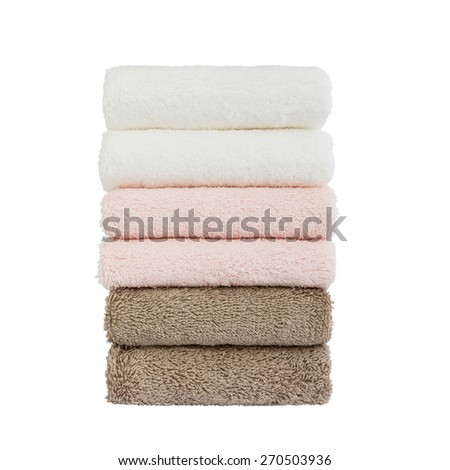 Stack of bath towels. Isolated - stock photo