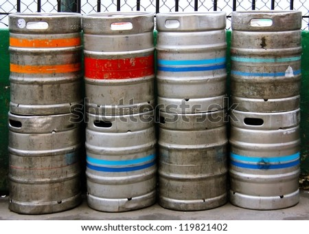 Stack of Beer Kegs one on top of another - stock photo