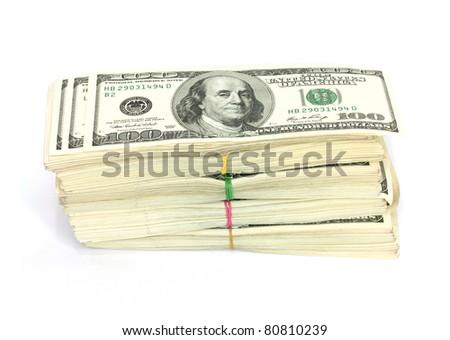 Stack of $100 bills - stock photo