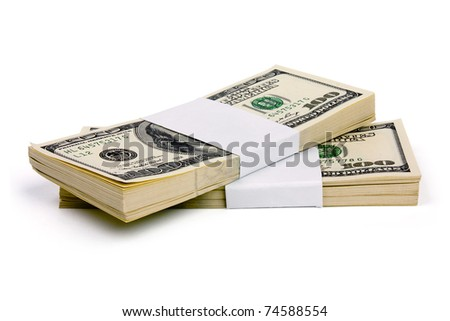 Stack of $100 bills isolated on white background - stock photo
