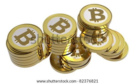 Stack of bitcoins isolated on white. Computer generated 3D photo rendering - stock photo
