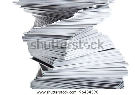 stack of black cards isolated on a white background - stock photo