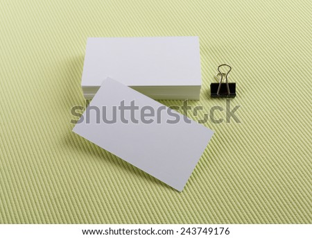 Stack of blank business cards. Mock-up for branding identity. - stock photo