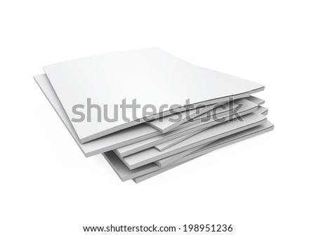Stack of Blank Magazines - stock photo