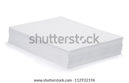 Stack of blank paper sheets isolated on white - stock photo