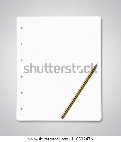 Stack of blank paper sheets with yellow pencil with clipping path - stock photo