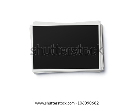 Stack of blank photo frames isolated on white background with clipping path for the inside - stock photo