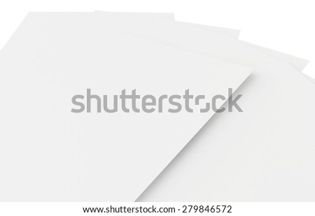 Stack of blank white sheets. 3d render