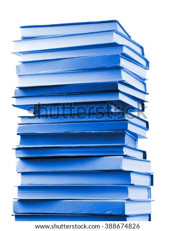 Stack of blue books isolated on white - stock photo