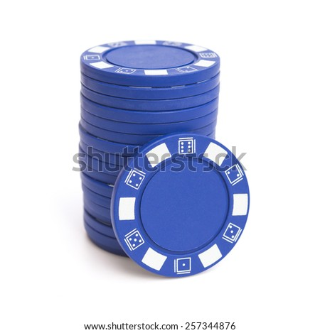 stack of blue poker chips on white with clipping path - stock photo