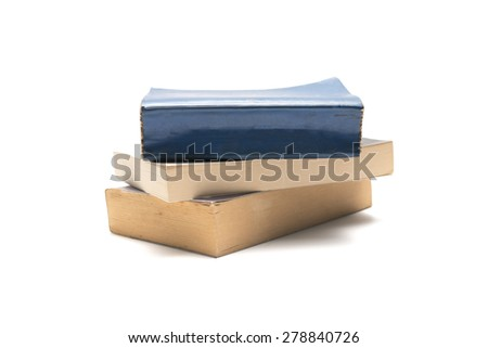 stack of book isolated on white background - stock photo