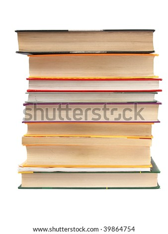 Stack of book over white