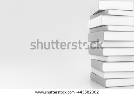 Stack of book with copy space. 3d render