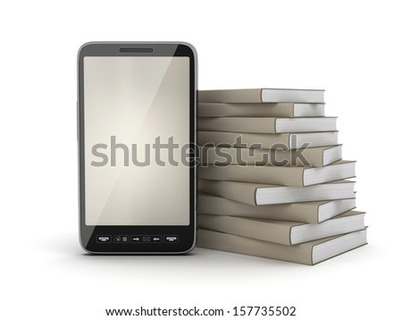 Stack of books and cell phone - stock photo