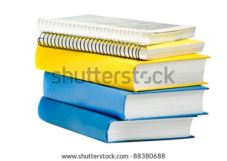 Stack of books and copybooks isolated on white - stock photo