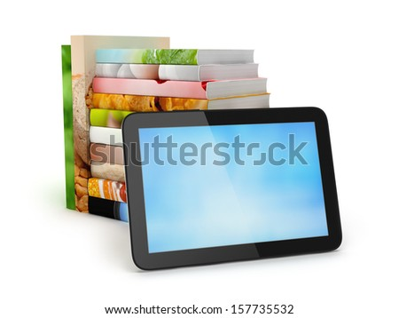 Stack of books and tablet computer - stock photo